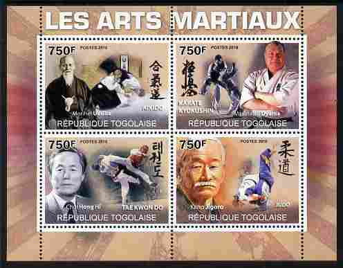 Togo 2010 Martial Arts perf sheetlet containing 4 values unmounted mint