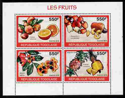 Togo 2010 Fruits perf sheetlet containing 4 values unmounted mint