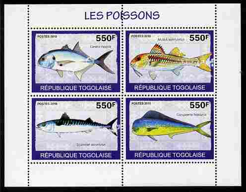 Togo 2010 Fish perf sheetlet containing 4 values unmounted mint
