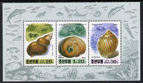 North Korea 1994 Shells sheetlet #1 containing 20ch, 30ch & 1.2wn values