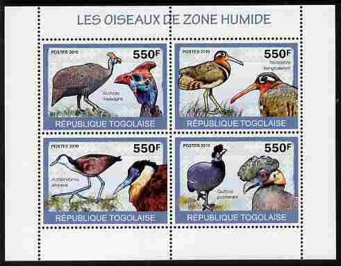 Togo 2010 Birds - Wetland Birds perf sheetlet containing 4 values unmounted mint