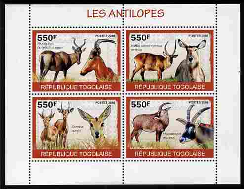 Togo 2010 Antelopes perf sheetlet containing 4 values unmounted mint