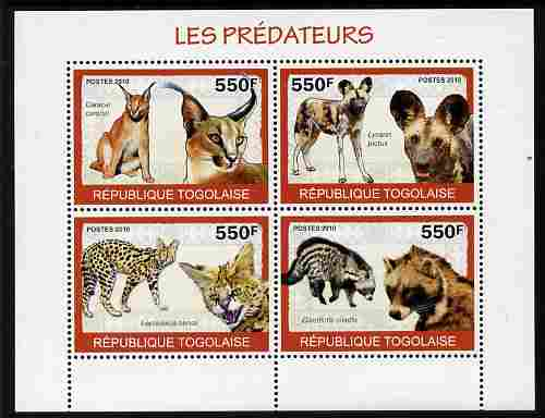 Togo 2010 Predators #1 perf sheetlet containing 4 values unmounted mint