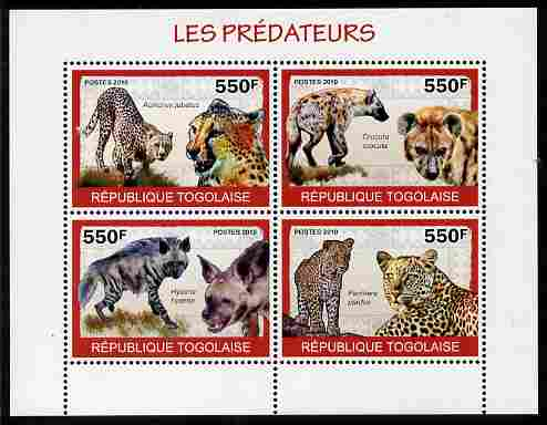 Togo 2010 Predators #2 perf sheetlet containing 4 values unmounted mint