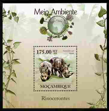 Mozambique 2010 The Environment - The Environment - Rhinos perf m/sheet unmounted mint Michel BL 307