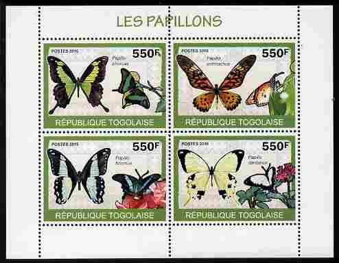 Togo 2010 Butterflies perf sheetlet containing 4 values unmounted mint