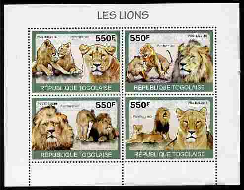 Togo 2010 Lions perf sheetlet containing 4 values unmounted mint