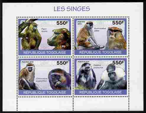 Togo 2010 Monkeys perf sheetlet containing 4 values unmounted mint