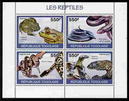 Togo 2010 Reptiles perf sheetlet containing 4 values unmounted mint