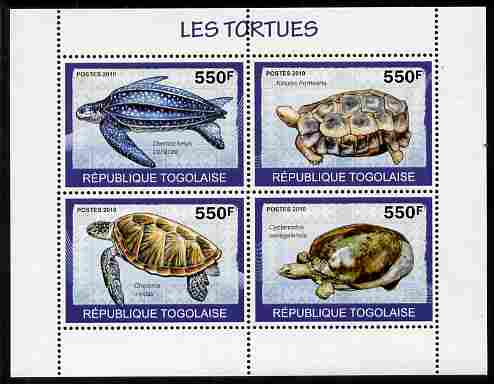 Togo 2010 Turtles perf sheetlet containing 4 values unmounted mint