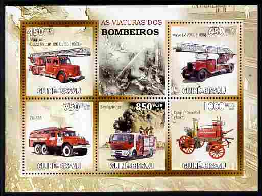 Guinea - Bissau 2010 Fire Engines perf sheetlet containing 5 values unmounted mint