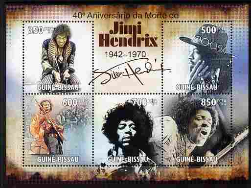 Guinea - Bissau 2010 40th Death Anniversary of Jimi Hendrix perf sheetlet containing 5 values unmounted mint