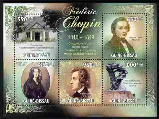 Guinea - Bissau 2010 200th Birth Anniversary of Frederic Chopin perf sheetlet containing 5 values unmounted mint