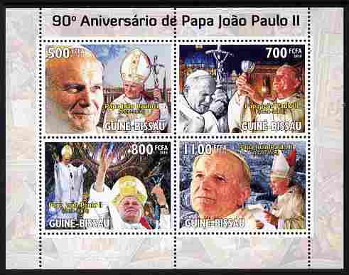 Guinea - Bissau 2010 90th Birth Anniversary of Pope John Paul II perf sheetlet containing 4 values unmounted mint