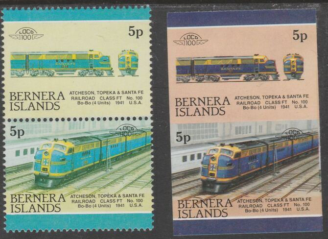Bernera 1983 Locomotives #2 (Atcheson, Topeka & Santa Fe) 5p - Complete sheet of 30 (15 se-tenant pairs) all with red omitted plus  one imperf pair as normal, unmounted m...