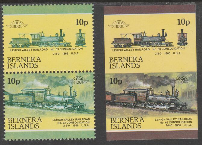 Bernera 1983 Locomotives #2 (Lehigh Valley Railroad) 10p - Complete sheet of 30 (15 se-tenant pairs) all with red omitted plus  one imperf pair as normal, unmounted mint....