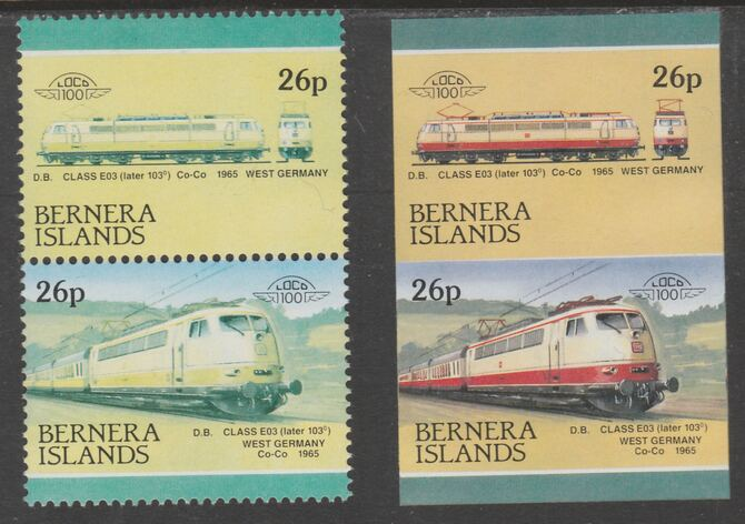 Bernera 1983 Locomotives #2 (DB Class EO3) 26p - Complete sheet of 30 (15 se-tenant pairs) all with red omitted plus  one imperf pair as normal, unmounted mint. About 30 ...