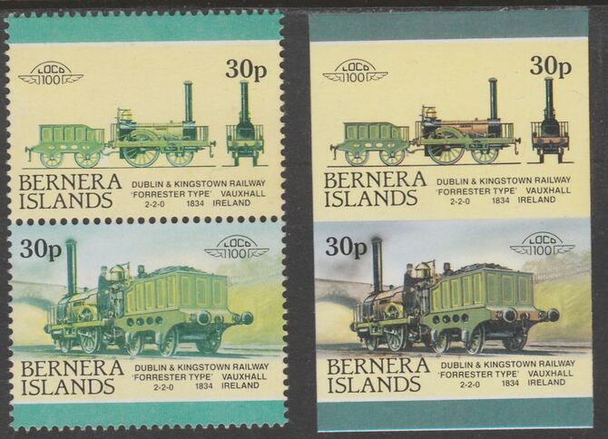 Bernera 1983 Locomotives #2 (Dublin & Kingstown Railway) 30p - Complete sheet of 30 (15 se-tenant pairs) all with red omitted plus  one imperf pair as normal, unmounted mint. About 30 years ago, I was one of the major buyers of the Format International archives. Now I've reached retirement age, I've decided to sell off much of that stock at unbeatable prices. For each sheet of 15 errors you'll just pay less than the price of 4.