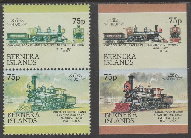 Bernera 1983 Locomotives #2 (Chicago, Rock Island & Pacific Railroad) 75p - Complete sheet of 30 (15 se-tenant pairs) all with red omitted plus  one imperf pair as normal, unmounted mint. About 30 years ago, I was one of the major buyers of the Format International archives. Now I've reached retirement age, I've decided to sell off much of that stock at unbeatable prices. For each sheet of 15 errors you'll just pay less than the price of 4.