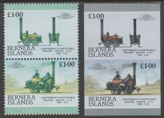 Bernera 1983 Locomotives #2 (Canterbury & Whitstable Rly) £1 - Complete sheet of 30 (15 se-tenant pairs) all with red omitted plus  one imperf pair as normal, unmounted ...