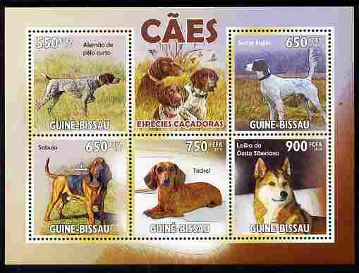 Guinea - Bissau 2010 Hunting Dogs perf sheetlet containing 5 values unmounted mint