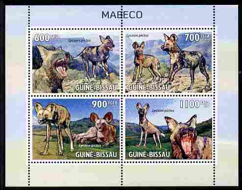 Guinea - Bissau 2010 Wild Dogs perf sheetlet containing 4 values unmounted mint