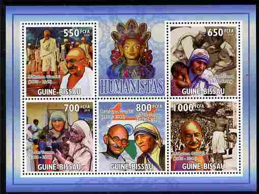Guinea - Bissau 2010 Mahatma Gandhi perf sheetlet containing 5 values unmounted mint