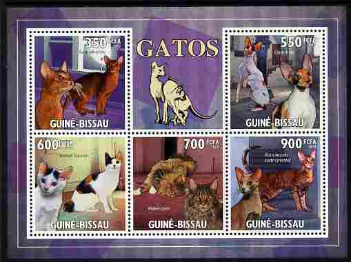 Guinea - Bissau 2010 Domestic Cats perf sheetlet containing 5 values unmounted mint