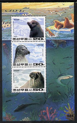 North Korea 1994 Marine Mammals sheetlet containing 20ch, 30ch & 50ch values unmounted mint