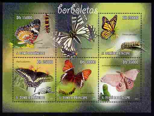 St Thomas & Prince Islands 2010 Butterflies perf sheetlet containing 5 values unmounted mint