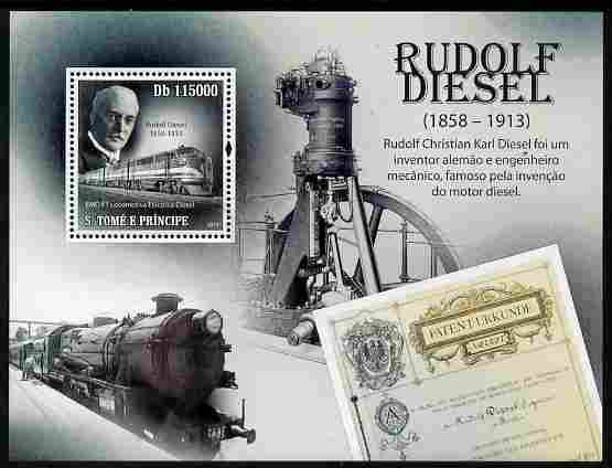 St Thomas & Prince Islands 2010 Rudolf Diesel perf m/sheet unmounted mint