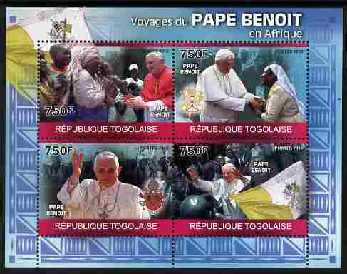 Togo 2010 Pope Benedict in Africa perf sheetlet containing 4 values unmounted mint Michel 3554-57