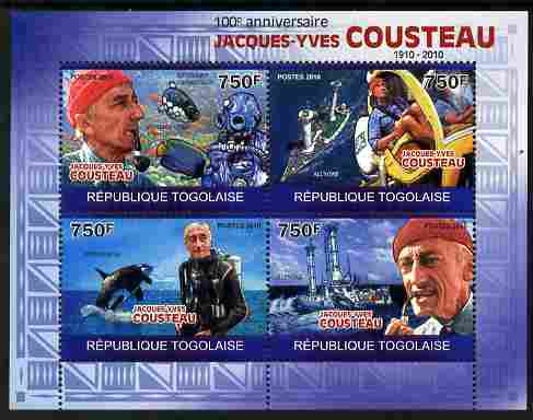 Togo 2010 Birth Centenary of Jacques Cousteau perf sheetlet containing 4 values unmounted mint Michel 3524-27