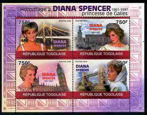 Togo 2010 Tribute to Princess Diana perf sheetlet containing 4 values unmounted mint Michel 3549-52