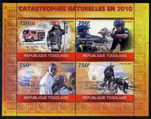 Togo 2010 Natural Disasters in 2010 perf sheetlet containing 4 values unmounted mint Michel 3574-77