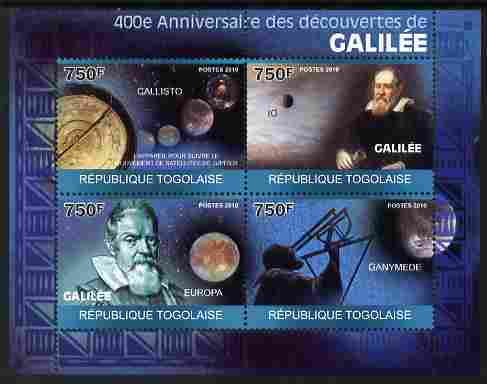 Togo 2010 400th Anniversary of Galileo's Discoveries perf sheetlet containing 4 values unmounted mint Michel 3489-92