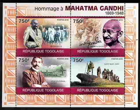 Togo 2010 Mahatma Gandhi perf sheetlet containing 4 values unmounted mint Michel 3519-22