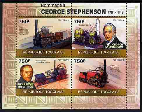 Togo 2010 George Stephenson perf sheetlet containing 4 values unmounted mint Michel 3499-3502