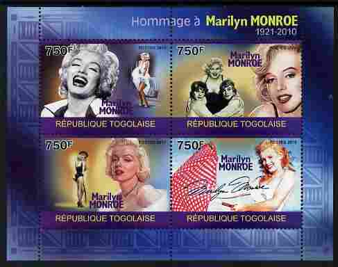 Togo 2010 Marilyn Monroe perf sheetlet containing 4 values unmounted mint Michel 3529-32