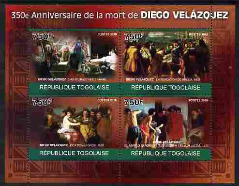 Togo 2010 350th Death Anniversary of Diego Velazquez perf sheetlet containing 4 values unmounted mint Michel 3494-97