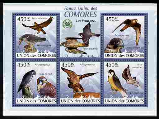 Comoro Islands 2009 Hawks perf sheetlet containing 5 values unmounted mint Michel 2407-11