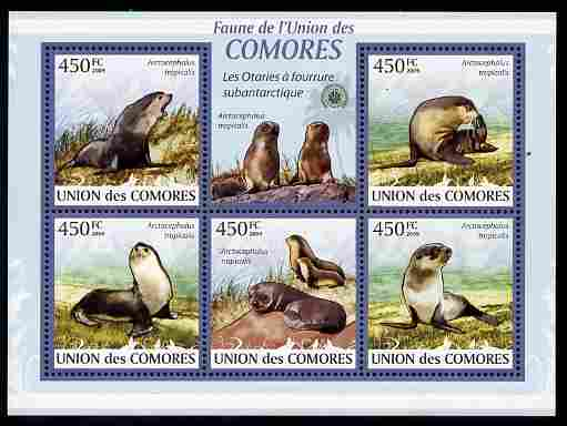 Comoro Islands 2009 Sea Lions perf sheetlet containing 5 values unmounted mint Michel 2435-39