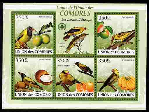 Comoro Islands 2009 Golden Oriole & Fruit perf sheetlet containing 5 values unmounted mint Michel 2362-66