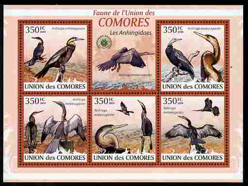 Comoro Islands 2009 Snake Bird (Darter) perf sheetlet containing 5 values unmounted mint Michel 2372-76