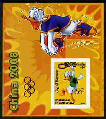 Somalia 2006 Beijing Olympics (China 2008) #04 - Donald Duck Sports - Running & Tennis imperf souvenir sheet unmounted mint. Note this item is privately produced and is offered purely on its thematic appeal with Olympic Rings overprinted on stamp and in margin at lower left