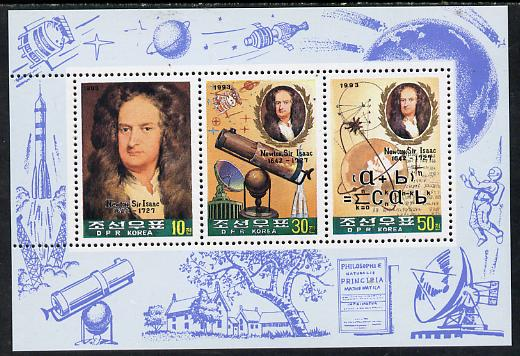 North Korea 1993 Sir Isaac Newton sheetlet #2 containing 10ch, 30ch & 50ch values unmounted mint