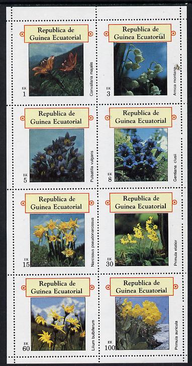 Equatorial Guinea 1977 Flowers perf set of 8 (Mi 1213-20A) unmounted mint
