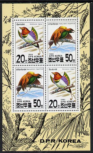 North Korea 1993 Birds sheetlet containing 2 x 20ch & 2 x 50ch values unmounted mint