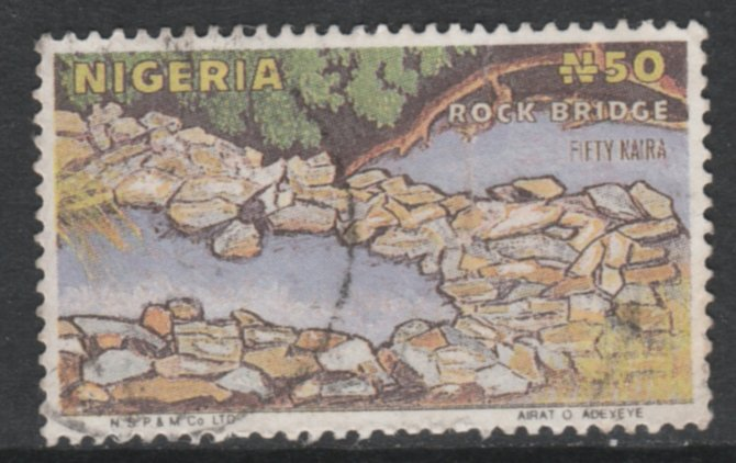 Nigeria 1986-98 Rock Bridge 50k Postally used Forgery, as SG525d