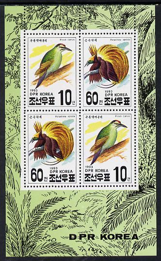 North Korea 1993 Birds sheetlet containing 2 x 10ch & 2 x 60ch values unmounted mint
